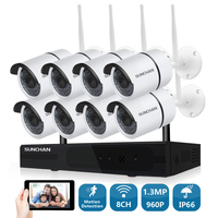 SUNCHAN HD 8CH NVR 1280 960 Wireless CCTV System Outdoor Day Night Vision WiFi Security Camera