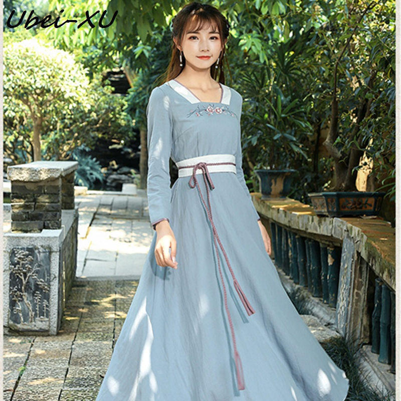 Ubei New retro women dress square collar long sleeve slim belt dress blue floral embroider long