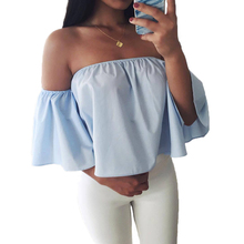 Women Sexy Off Shoulder Blouse Shirt Short Sleeve Summer Blouse Casual Flare Sleeve Cool Blouses Girls Slash Neck Tops Blusas casual off the shoulder print flare sleeve blouse for women