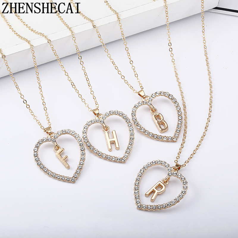 2018 Simple gold Color love heart necklaces & pendants double Rhinestone choker necklace women statement jewelry Bijoux x1(China)