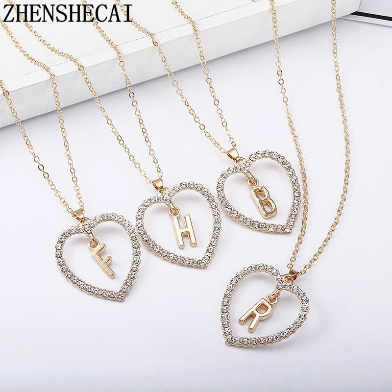 2018 Simple couleur or amour coeur colliers et pendentifs double strass collier ras du cou femmes déclaration Bijoux Bijoux x1