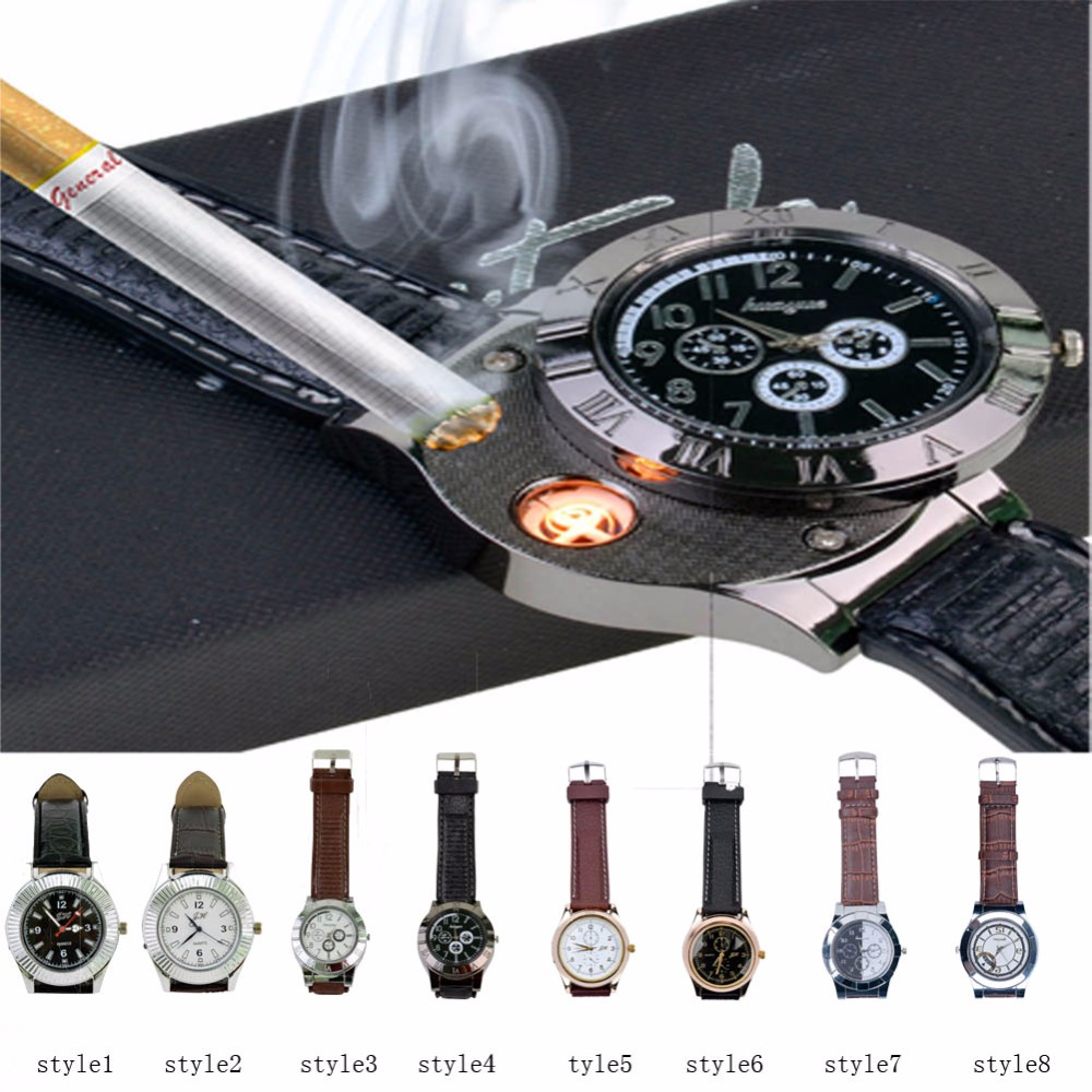 Hot Selling Military USB Lighter Watch Men s Casual Quartz Wristwatches with Windproof Flameless Cigarette Cigar