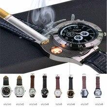 Venta caliente Militar Reloj de Los Hombres Casual Relojes de pulsera de Cuarzo con A Prueba de Viento Más Ligero USB Sin Llama Puro Encendedor de cigarrillos WL_255