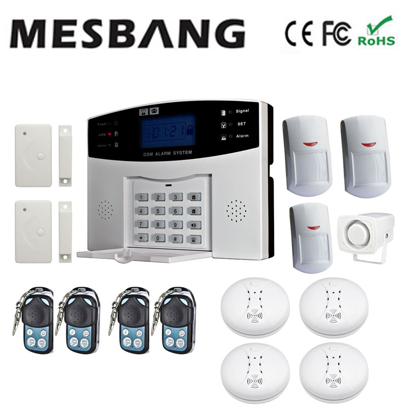 Wireless GSM security Alarm System smoking detector door sensor pir detector free shipping