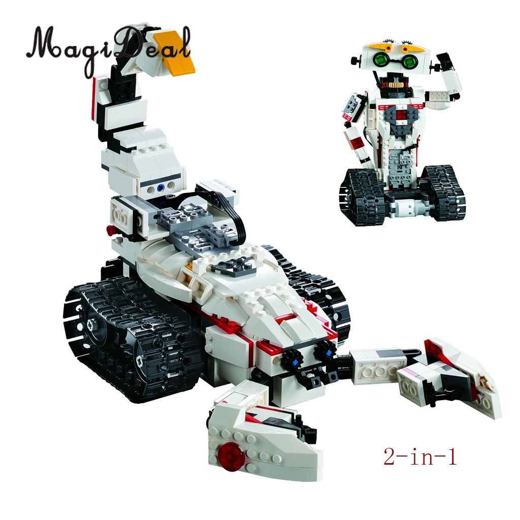 DIY 710 Pieces 2-in-1 RC Remote Control Car Building Bricks Kits Kids Educational Toy Gifts -Battle Scorpion Car & Robot pilsan scorpion remote control