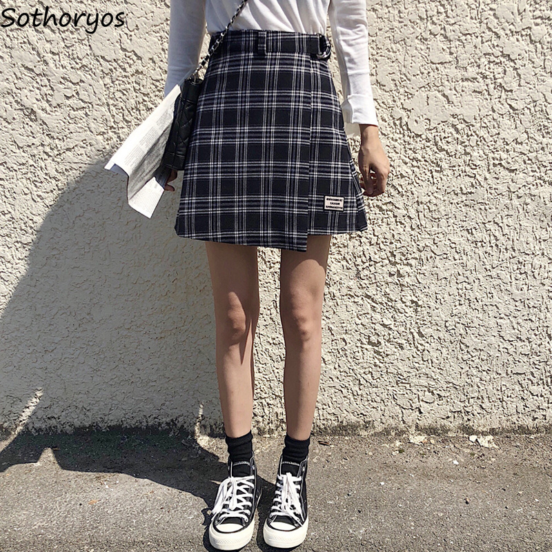 Short Skirt Color-Block A-Line Plaid Retro Elegant High-Waist Mini Moda Kawaii Chic Mujer