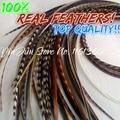 """Бесплатная Доставка 6-12 """"стоимостью 50 шт. перья петуха гризли настоящие волосы перья плюм волос выдвижение волос пера расширение перо"""
