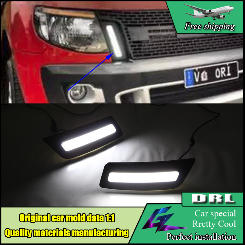 12V Waterproof Car Styling LED Driving Lamp DRL For Ford Ranger 2012 2013 2014 LED DRL Daytime Running Light Fog Lamp