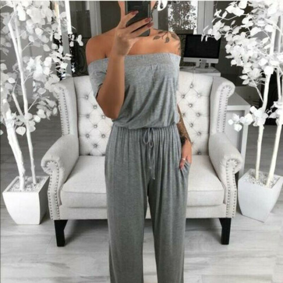 3Colors Womens Solid Color   Jumpsuit   Ruched Off-Shoulder Short Sleeves Elastic Waist Lace Up Romper with Pockets Casual Clothes