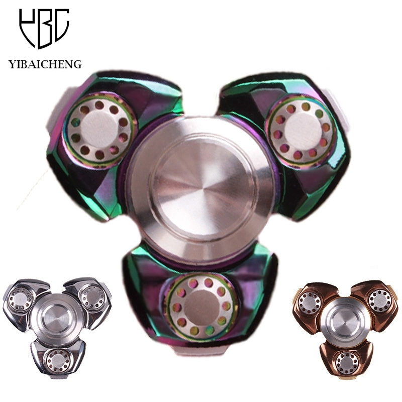 Luxury Metal Copper Fidget Hand Spinner Gyro Funny Anti Stress Toys Puzzle Tri-Spinner Finger Toy For Autism ADHD 6-8 Minutes