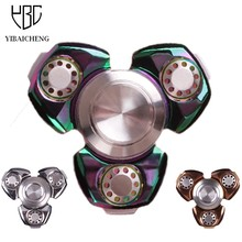 Luxury Metal Copper Fidget Hand Spinner Gyro Funny Anti Stress Toys Puzzle Tri-Spinner Finger Toy For Autism ADHD 6-8 Minutes(China)