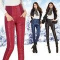 2016 Mujeres de Invierno Más Los Pantalones de Terciopelo Espesamiento Delgado Pantalones Calientes Legging Alta Cintura Femenina Térmica Bajó Los Pantalones de Regalo de Navidad