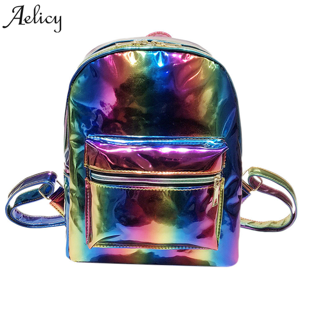 Aelicy 2018 New Women Hologram Backpack Rainbow Laser Daypacks Female Silver PU Leather Holographic Bags Big Girl School BagAelicy 2018 New Women Hologram Backpack Rainbow Laser Daypacks Female Silver PU Leather Holographic Bags Big Girl School Bag