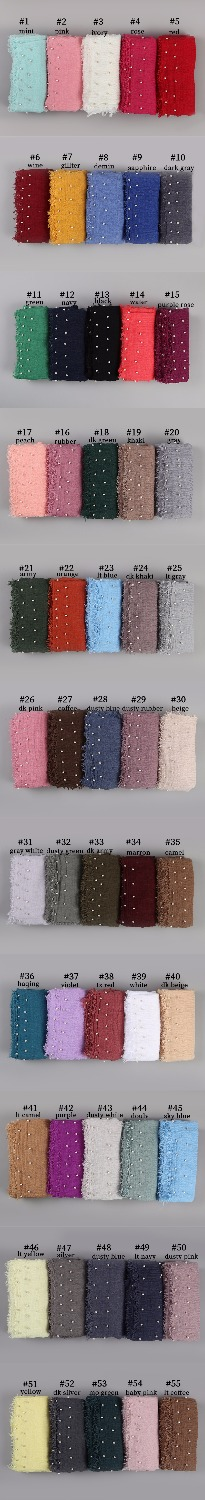 10 PC/lot Cotton Scarf Beads Bubble Pearl Wrinkle Shawls Hijab Fringe Crumple Muslim Scarves/scarf 55 Color
