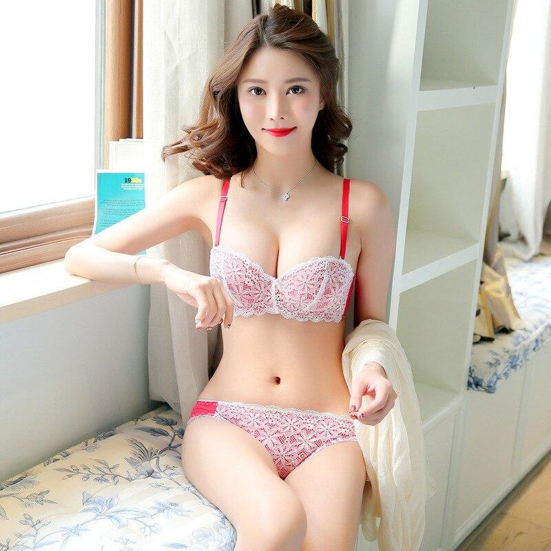 Japanische Und Koreanische Sexy 12 Halbe Tasse Romantische Nette Unterwsche Frauen Stickerei Spitze Kleine Brust Tiefe V Push Up Bh Set N0695 -8658