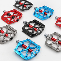 MZYRH 1 Pair 9/16'' Mountain Bike Pedals Nylon/Aluminum with Anti slip Nail 3 Sealed Bearing Platform Pedal for MTB Road Bicycle