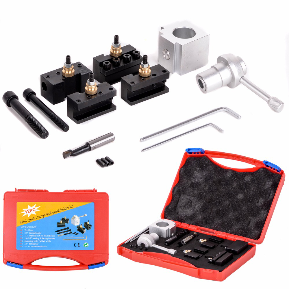 New Mini Quick Change Tool Post Holder & Bolts Kit For Table Hobby Lathes