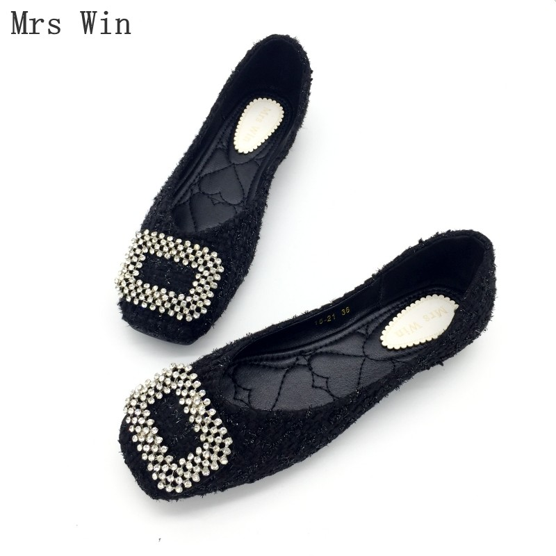 2018 Fashion Shoes Women Spring Autumn Ballet Flats Crystal Slip-On Woman Single Shoes Ladies Work Females Footwear Plus Size original ijoy saber 100 20700 vw kit max 100w saber 100 kit with diamond subohm tank 5 5ml