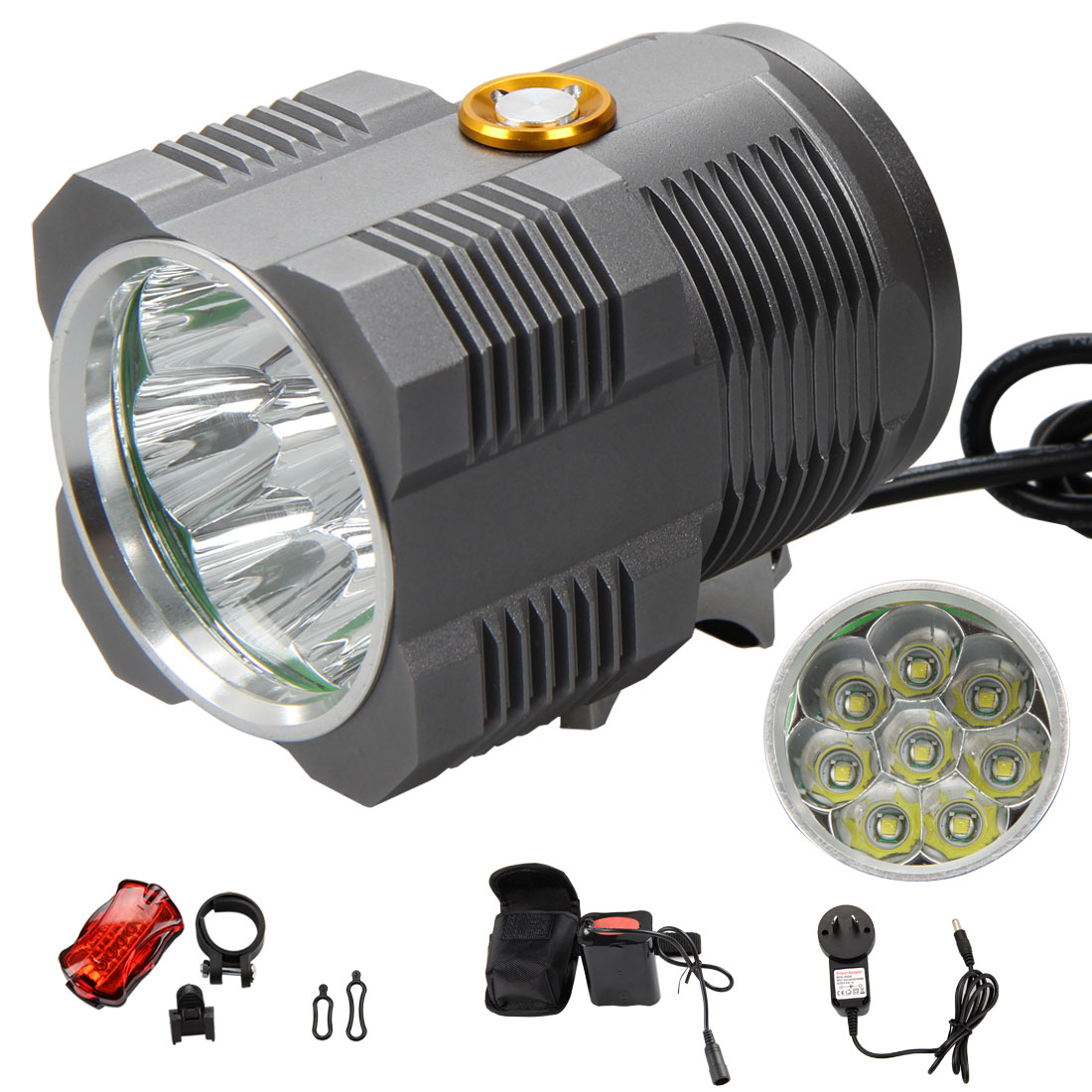 Super Bright 13000Lm 8x XM-L T6 LED Front Bicycle Light Bike Lamp Headlight+6400mAh Battery Pack+AC Charger+Rear Light cree xm l t6 bicycle light 6000lumens bike light 7modes torch zoomable led flashlight 18650 battery charger bicycle clip