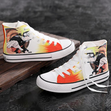 Naruto Print Women Sneakers Hand-Painted Anime Character Spring Sneakers Women High Top Breathable Casual Canvas Shoes