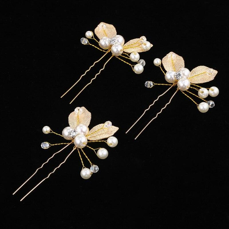 Headdress Bridesmaid Gift Hairpins Hair-Accessories Wedding-Jewelry Leaf Bridal Handmade