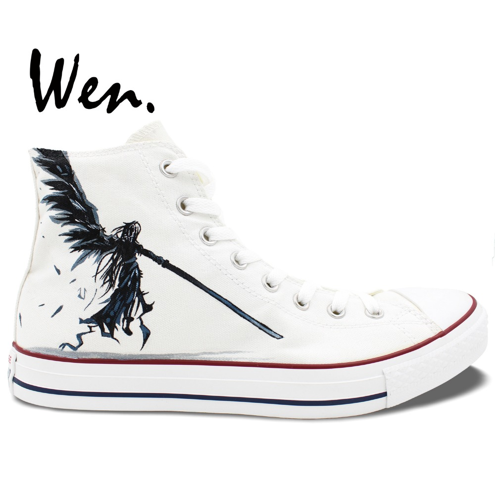ФОТО Wen Hand Painted Shoes Custom Design Unisex Shoes Final Fantasy Men Women's High Top Canvas Shoes Christmas Gifts
