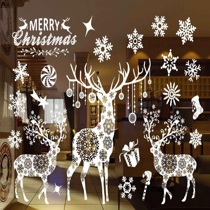 20 cores decoração de natal janela adesivos papai noel/veados/flocos de neve/boneco de neve natal pringting ner ano enfeites de natal