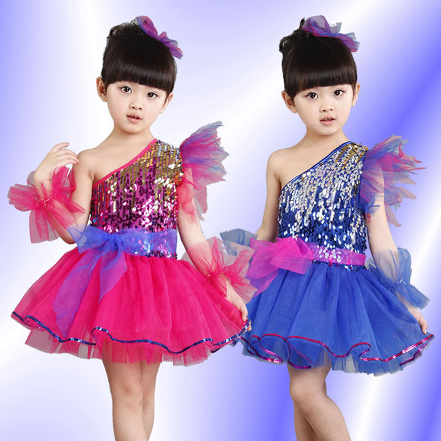 ff54045505b8 Китайские Детские костюм принцессы Детские костюмы павлина для девочек  блесток Купальник Танцы золото болельщик современный ярко