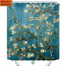 Beautiful Bathroom Shower Curtain Apricot Flower Green Color Water Proof Anti Enzyme Thick Home Decor 180*200CM