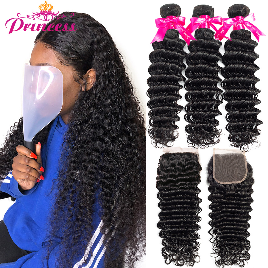 Deep-Wave-Bundles Hair Closure Brazilian-Hair Beautiful Princess Weave with Double-Weft