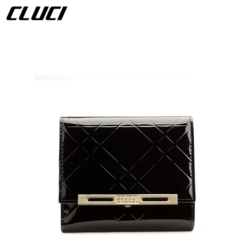CLUCI Mini Wallets Women Black Red Patent Leather 11cm Fashion Plaid Pattern Hasp Short Small Trifold Luxury Wallets and Purses