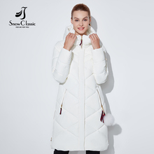 SnowClassic mulheres jaqueta de inverno Fino curto casacos de Capuz parka outerwear luxo Argyle casaco feminino casacos de inverno Estilo Preppy 2017