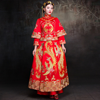 New Bride Traditions Red Women Phoenix Embroidery Cheongsam Long Qipao Wedding Dresses Traditional Chinese Dress Chinees Jurkje