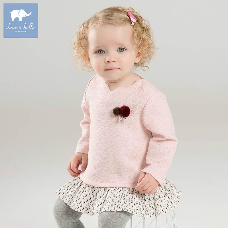 DB7364 dave bella printemps infantile bébé filles mode t-shirt enfants coton beaux hauts enfants haute qualité t-shirt