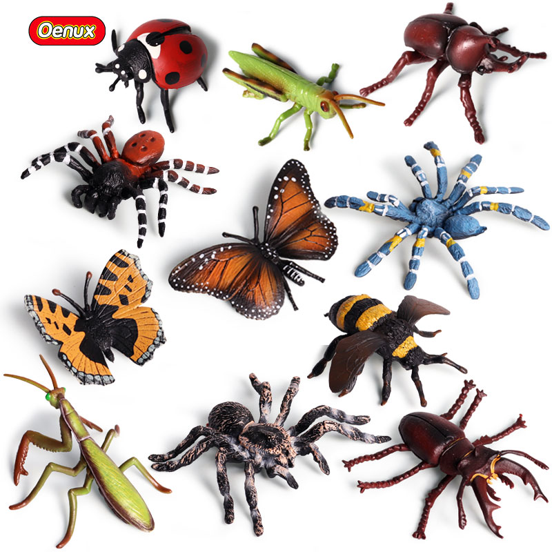 Oenux Insect Animals Model Butterfly Grasshopper Spider Action Figures Mantis Figurine Bee Miniature Educational Toys For Kids