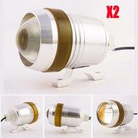 2x יוניברסל מעטפת כרום עמיד למים 30 W ערפל אור ספוט LED פנס U3 צהוב אנג 'ל עיניים אופנועים Motor Bike 12 V