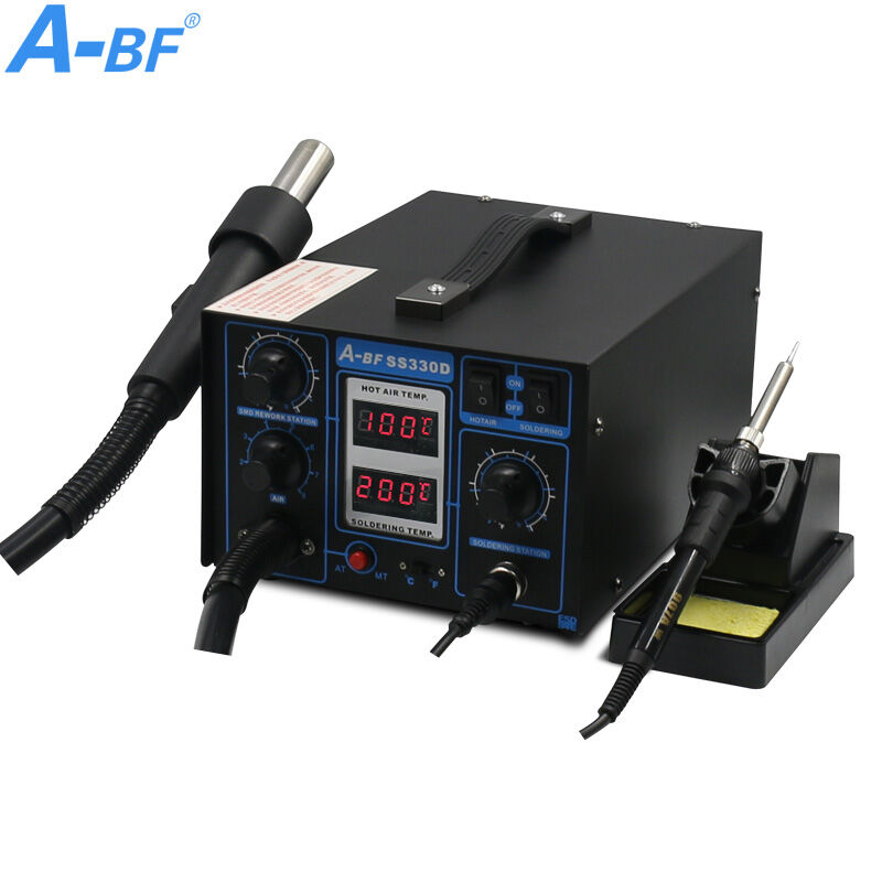 цена на 2-in-1 Rework Station dual digital display A-BF SS330D soldering Iron Station lead-free desoldering Hot air gun mobile repair