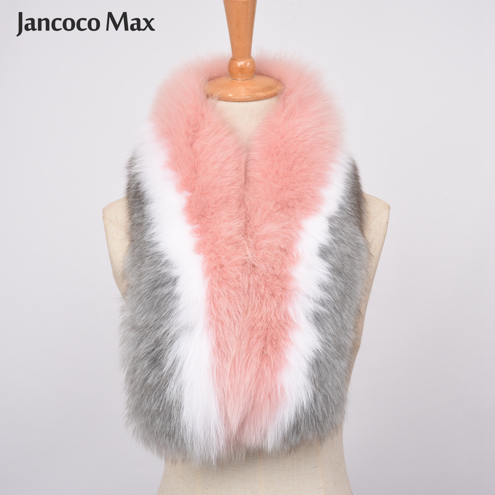 2019 New Arrival Fashion Style Big Fox Fur Scarf Winter Thick Warm Real Fur Muffler Top Quality S7392