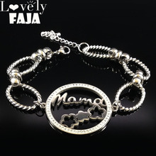 2019 Mama Crystal Stainless Steel Braclets for Women Flower Silver Color Tree of Life Bracelets Jewelry pulsera B18059