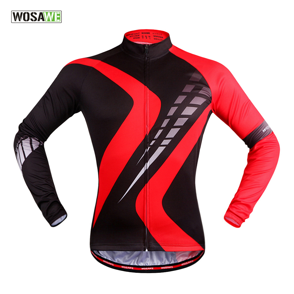 WOSAWE Quick Dry Breathable Long Sleeve Cycling Jersey Spring & Autumn Bike Shirt Bicycle Wear Racing Riding Tops For Men