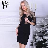 WYHHCJ 2018 Vestido Persp Women Summer Dress Half Sleeve Mesh Patchwork Women Dress Bodycon O Neck