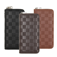 High Quality Business men long wallet leather phone purse zipper coin money clip Lattice embossed Large Capacity vintage clutch