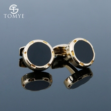 TOMYE Mens Cufflinks Gold Sliver Round Stud Enamel Custom Groom High Quality Wedding Cuff Links Shirt Jewelry XK19S080
