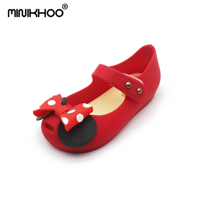 Mini Melissa 2018 New Jelly Sandals Wave Point Mickey Bow Tie Sandals Girl Mini Melissa Princess Sandals Comfortable Shoes