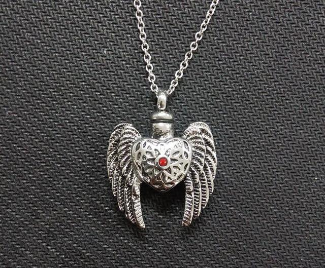 Vintage heart angel wings urns personal cremation ashes necklace vintage heart angel wings urns personal cremation ashes necklace memorial pendant with red crystal aloadofball Choice Image