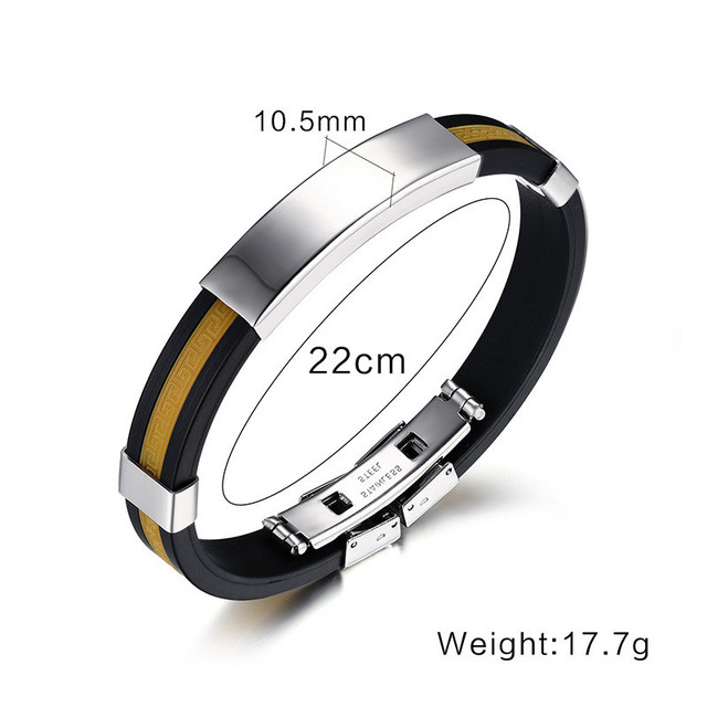 Modyle 2017 New Fashion Men Jewelry 5 Colors Stainless Steel Bangle Silicone Wristband Bracelet for Men an Women