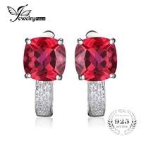 כרית JewelryPalace 4.6ct נוצר תכשיטי יוקרה 925 כסף סטרלינג אבני אודם אדום קליפ על עגילים לנשים עגילים קלאסיים