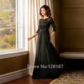 Black Lace half Sleeves Mother of the bride Dresses Long Floor-Length Sexy woman Mother of the Bride Dress 2017 Gowns CGM008