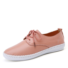 Summer women Espadrilles ballet flats shoes Leather Lace-up soft comfortable ladies casual shoes peach white black B16