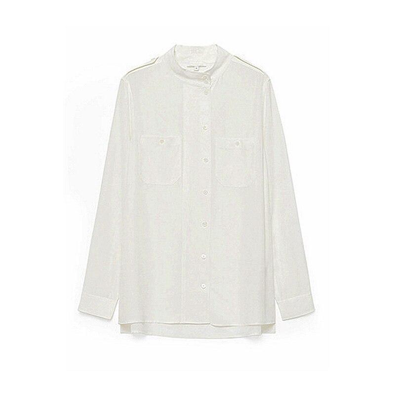 Mejor Promo 100 Blusa De Seda Para Mujer Camisa Blanca Cuello Alto Manga Larga Bolsillos Tallas Grandes Epaulet Estilo Militar Otono Nueva Moda 2018 November 2020
